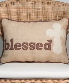 This 'Blessed' Cross Pillow is perfect! #zulilyfinds