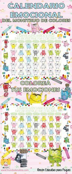 calendario-emocional-monstruo-colores Monster Activities, Art Therapy Activities, Printable Activities For Kids, Toddler Activities, Teacher Hacks, Teacher Binder, Kids Birthday Presents, Printable Stickers, Conte