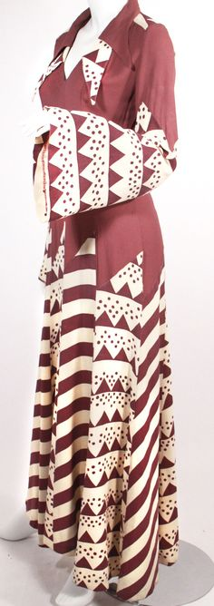a14c4bdad6 Ossie Clark et Celia Birtwell - Robe Maxi - Vieux Rose et Ivoire - Années 70