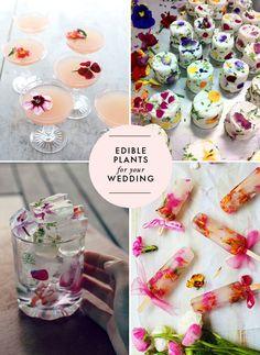 Summer Wedding Ideas - Love the ice cube idea! Edible flowers for your wedding   Brooklyn Bride - Modern Wedding Blog