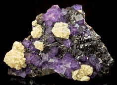 Fluorite & Barite on Sphalerite - Elmwood Mine, Smith County, Tennessee; Measures 17 cm by 24 cm by 10.5 cm in total size.
