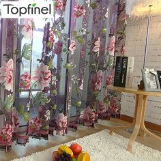 Hot sale purple floral tulle in sheer curtains for living room the bedroom kitchen shade window treatment curtain blinds panel