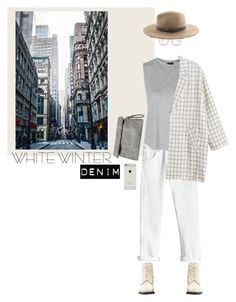 """Winter White Denim 1"" by rachel-jeannette ❤ liked on Polyvore featuring Dr. Martens, Rebecca Taylor, Topshop, Isabel Marant, Oliver Peoples, rag & bone and Monki"