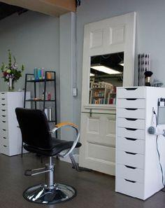 HairStation using IKEA storage visit www.ukhairdressers.com for #hairdressing inspiration