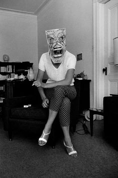 Inge Morath © The Inge Morath Foundation  USA. Untitled. (from the Mask Series with Saul Steinberg), 1961.