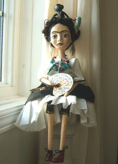 Frida Kahlo Black White Hand made Art by BarbaraCharacters