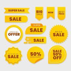 Collection of sales label Free Vector Graphic Design Templates, Label Design, Free Badges, Design Plano, Logos Retro, Banner Design Inspiration, Web Design, Vector Free Download, Social Media Logos