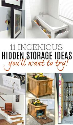 Amazing collection of hidden storage ideas from around the web that you'll love and want to try for your own home. Get creative and find storage space in places there shouldn't be!