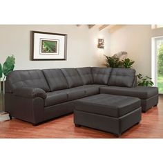 "Yarber 124"" Wide Genuine Leather Right Hand Facing Corner Sectional with Ottoman Tufted Sectional Sofa, Reclining Sectional, Corner Sectional, Tufted Ottoman, Leather Sectional, Leather Ottoman, Leather Cover, Couches, Land Scape"