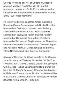 George Normand obituary Cottonport, Louisiana  November 23, 2015