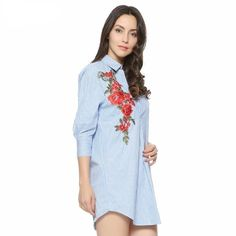 Women elegant Appliques striped long shirts full cotton three quarter sleeve loose blouse turn down collar casual