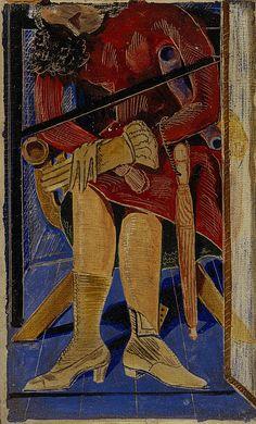 La Femme au parapluie [Woman with Umbrella] / Max Ernst / c. 1921 / Gouache, crayon and pencil on printed paper, laid on card