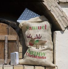 ❤ PERSONALISED Original Personalised Hessian Christmas Santa Sack Moose ❤
