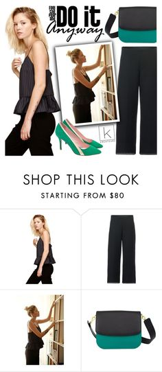 """""""Do it anyway!"""" by kreateurs ❤ liked on Polyvore featuring Léa Peckre, blackpants, stripedtop, ruffledtop, greenpumps and kreauters"""