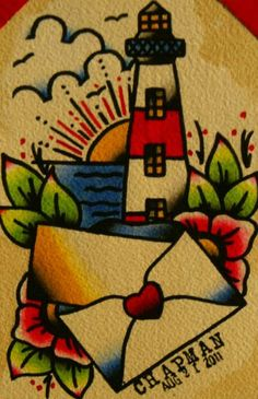 Cool tattoo style water colour paintings by Chris Chapman £9.75