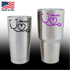 b06bc6c648c Really Cool Yeti Decals - Cup Stickers - Nurse Heart Stethoscope with name  Check it out
