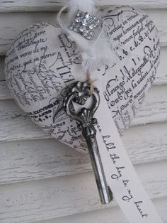 i could use paper mache hearts cover with vintage music pages tea dye embellish and wala prim Christmas ornament! Could use key from your first home. I Love Heart, Key To My Heart, Valentine Heart, Happy Valentines Day, Valentine Ideas, Valentine Gifts, Vintage Keys, Vintage Music, Vintage Heart