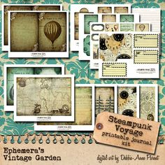 Steampunk Voyage 5x7 printable journal kit by EphemerasGarden, $14.95