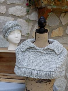bab27721320 Caplet   Beret Set - Hand Knit Caplet with matching Hat- Super Bulky Yarn -