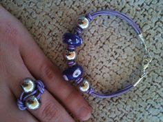 pulsera y anillo morados - bracelet ring DIY purple
