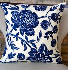 Decorative pillow designer pillows home accents blue floral decorative pill Blue And White China, Love Blue, Dark Blue, Home Decor Fabric, Designer Pillow, White Decor, Home Accents, Decoration, Home Accessories