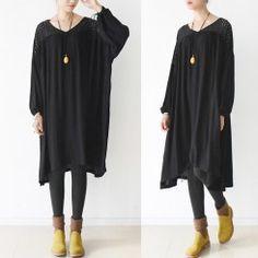 2016 oversized black cotton dresses hollowed shoulder linen dress bust 160cm