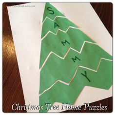 These cute Christmas Tree Name Puzzles make great Preschool Christmas Projects