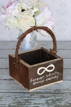 Flower Girl Basket Shabby Chic Forever Infinity Wedding Decor