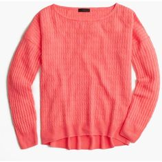 J.Crew Garment-Dyed Linen Cable Crewneck Sweater ($53) ❤ liked on Polyvore featuring tops, sweaters, crew sweater, red cable knit sweater, cable sweater, linen sweater and colorful sweaters