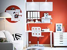 Guest room office.  BESTÅ white wall cabinets with white doors and EKBY JÄRPEN/EKBY BJÄRNUM white wall shelves