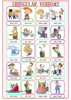 Irregular Verbs Picture Dictionary worksheet - Free ESL printable worksheets made by teachers English Adjectives, English Verbs, English Vocabulary, English Grammar, English Worksheets For Kids, English Lessons For Kids, Learn English Words, English Language Learning, Teaching English