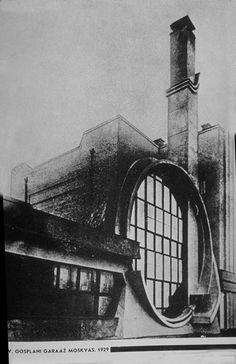 Russian Constructivism -- Gosplan garage, Melnikov (Moscow, 1929)