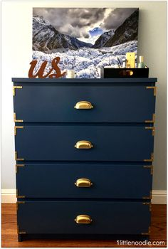 IKEAHACK of the Malm chest of drawers - love the gold hardware accents!