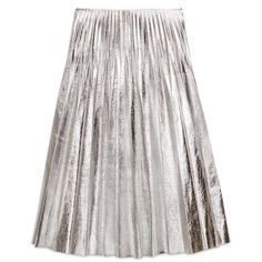 Gucci Metallic Leather Plissé Skirt (47,085 MXN) ❤ liked on Polyvore featuring skirts, ready-to-wear, women, metallic leather skirt, metallic skirts, gucci, genuine leather skirt and white knee length skirt