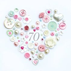 This Personalised 70th Birthday Button Heart Gift embellished with hand-picked vintage buttons and pearls makes a gorgeous present for someone special!If you are looking for a particular combo of colours, maybe a bright pink or a blue theme, that's not a problem. Just email us and we can create it for you at no extra charge! We are more than happy to email you a proof of the text to help you envisage it, please request a mock up when ordering. To avoid a delay it is vital you check your p...