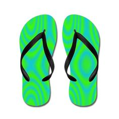 Abstract Neon Blue and Green Flip Flops on CafePress.com