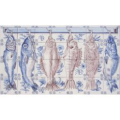 Portuguese Traditional Clay Azulejo Tiles Panel Mural CORREIO MOR KITCHEN FISHES #BicesseTiles #Baroque #BicesseTiles