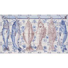 Portuguese Traditional Clay Azulejo Tiles Panel Mural CORREIO MOR KITCHEN FISHES