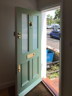 Victorian front door with brass door furniture recently installed by Bespoke Front Door LTD in south London