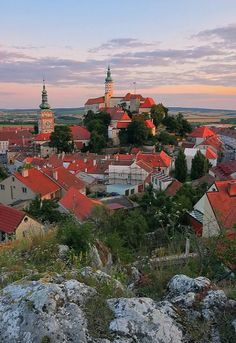 Mikulov at sunset, Czech Republic by Karel Hrouzek Places To Travel, Places To See, Places Around The World, Around The Worlds, Prague Czech Republic, Medieval Town, Vacation Spots, National Parks, Beautiful Places
