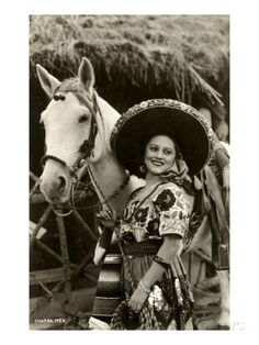 Art Print: Woman with Horse, Mexican Charra Art Print : Mexican Rodeo, Mexican Outfit, Mexican Art, Mexican Stuff, Mexican Tiles, Vintage Cowgirl, Cowboy And Cowgirl, Cowgirl Chic, Vintage Horse
