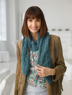 Your knitting will never go wrong with the reversible lace pattern on this scarf.