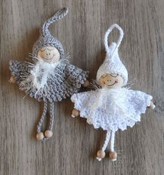Inspiration for Christmas angels Crochet Christmas Decorations, Crochet Ornaments, Holiday Crochet, Crochet Snowflakes, Angel Ornaments, Christmas Knitting, Crochet Gifts, Crochet Dolls, Christmas Crafts