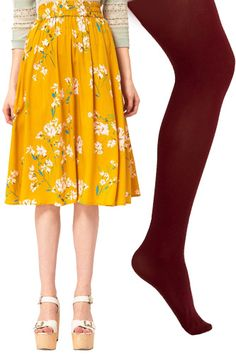 I love that i can still rock a summer dress in winter with these colorful tights.