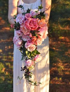 Summer cascade wedding bouquet by Holly's Wedding Flowers made with silk flowers. Shipping worldwide :)