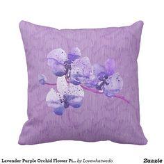 Lavender Purple Orchid Flower Pillow