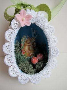 OOAK Easter Egg Diorama Ornament - Vintage Style Papier Mache - Panorama Shadowbox - Sugar Egg Keepsake Decor - Victorian. $32.00, via Etsy.