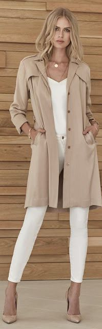 Women's fashion   White skinnies and neutral heels and trench coat