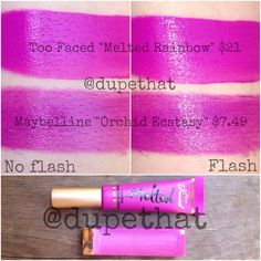 "#ShareIG Okay guys and gals, so Too Faced ""Melted Rainbow"" is a Sephora VIB ROUGE EXCLUSIVE so you have to spend a ton of money to get your hands on it. Get the same color with Maybelline ""Orchid Ecstasy"" until you hit rouge status! It's a LOT more sheer and less pigmented compared to Too Faced's Melted formula, but these are SO close in color! We'll work on finding the perfect dupe for it. Meanwhile, what do you think of this shade?!"