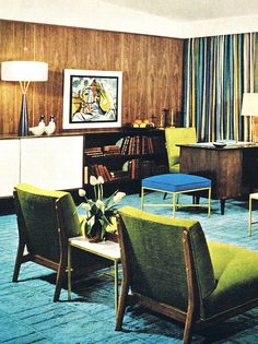 mid century office....love that lamp!